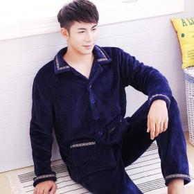 睡衣男士法兰绒珊瑚绒加厚加肥大码长袖套装秋天冬季