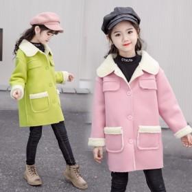 女童外套加绒加厚秋冬款呢大衣儿童装新款冬装洋气小女