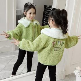 女童后背字母绣花羊羔毛外套2019新款冬装韩版洋气