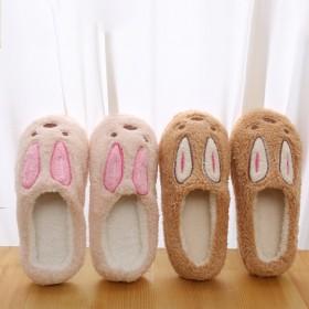 毛絨棉拖鞋可愛卡通小兔子情侶棉鞋防滑軟底月子鞋女