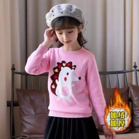 女童加绒加厚卫衣秋冬季新款童装中大儿童保暖打底衫上