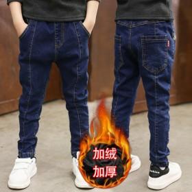 新款冬季童装中大童弹力牛仔裤冬款加绒加厚童裤男童