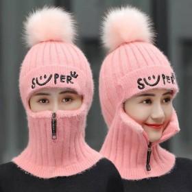 帽子女秋冬季针织护耳毛线帽口罩保暖加绒加厚韩版百搭