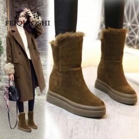 菲喬詩冬季厚底內增高女學生雪地靴