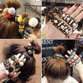 能当手链的头绳女韩版可爱两用发圈网红豹纹皮套