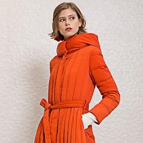 Doliva/德丽芙羽绒服女中长款连帽修身显瘦加厚