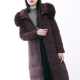 Doliva/德丽芙专柜修身保暖超大真毛领羽绒服女