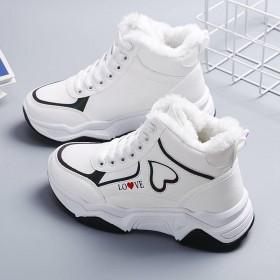 加绒加厚冬季高帮鞋女学生韩版百搭雪地靴女款保暧鞋子
