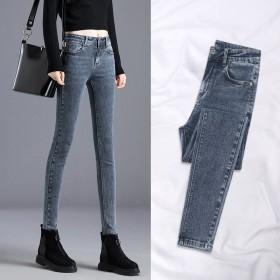牛仔裤女秋冬新款长裤韩版高腰学生修身加绒加厚九分小