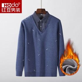80%棉8%羊毛加绒加厚保暖假两件修身男士外套毛衣