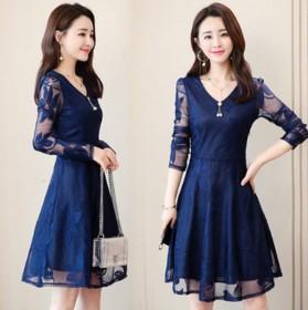 时尚优雅气质蕾丝连衣裙中长款镂空拼接纯色纱网裙