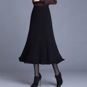韩版高腰针织半身裙女新款秋冬A字长款流苏大摆裙