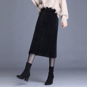 水貂绒半身裙秋冬韩版优雅修身包臀裙开叉高腰百搭裙