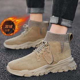 馬丁靴男潮鞋男鞋高幫英倫風男士冬季工裝靴子棉鞋加絨