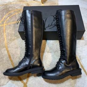 高筒綁帶側拉鏈馬丁靴真皮機車靴長筒騎士靴復古AN潮