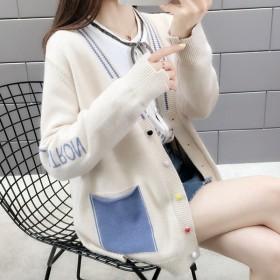 网红女士毛衣秋装2019年新款韩版宽松针织开衫外套
