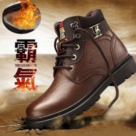 【头层牛皮】大码鞋真皮冬季高帮加绒保暖棉鞋男马丁靴