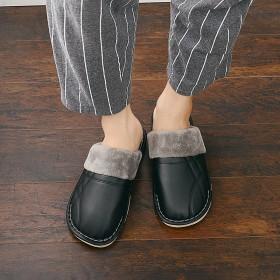 冬季新款純色家居室內厚底防滑防水保暖月子皮拖鞋男