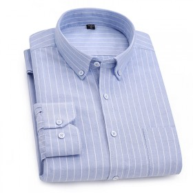 秋季牛津纺男士长袖条纹纯棉衬衫休闲上衣格子衬衣修