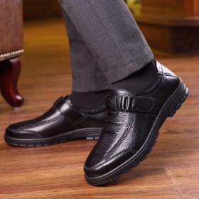 中老年加厚加絨真牛皮皮鞋