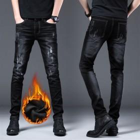 秋冬季加绒加厚弹力牛仔裤男士修身小脚直筒潮流韩版乞