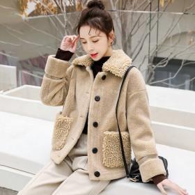 2019秋季新款羊羔毛外套女宽松羊剪绒小香风气名媛