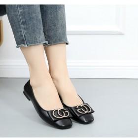 新款真皮百搭平底豆豆鞋外穿夏秋軟底防滑軟皮一腳蹬