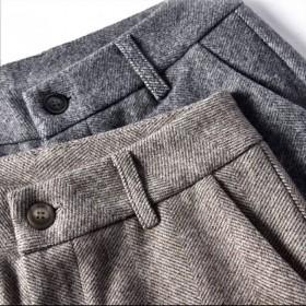 2019秋冬款西装裤女直筒宽松垂感高腰小个子显潮毛