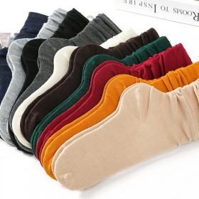 堆堆袜 女 日系秋冬棉薄款女袜 纯色复古森系长筒袜