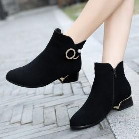 短靴真皮平底中低跟馬丁靴子冬季加絨棉鞋瘦瘦靴