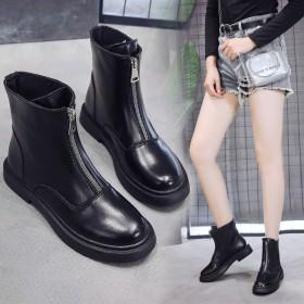 加絨拉鏈平底網紅短靴女冬2019新款瘦瘦靴百搭