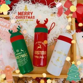冬季圣诞节礼物保温杯可爱麋鹿鹿角可爱温暖不锈钢水杯