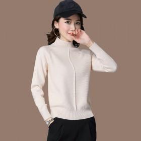 女士半高领羊毛衫针织打底衫毛衣百搭内搭