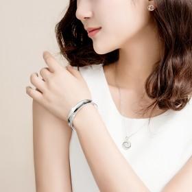 银手镯999纯银女纯手工镯子时尚日韩学生开口年轻款