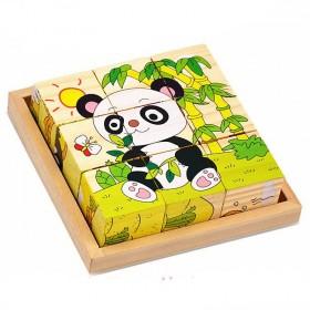 卡通益智卡通益智六面画9粒木质拼图儿童3D立体积木