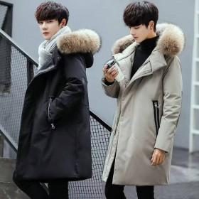 富贵鸟男装男士中长款加厚大毛领羽绒服男青年修身韩版