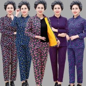 中老年人保暖内衣女士加厚加绒冬季开衫妈妈老人奶奶秋