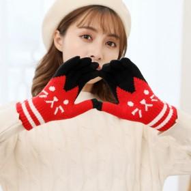 卡通可爱猫咪手套冬季女款腈纶针织户外保暖触屏分指手