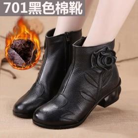 真皮加绒女鞋民族风短靴单靴真皮手工复古牛皮短靴