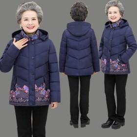 中老年女装羽绒棉服外套加厚妈妈装棉衣短款老年人冬装