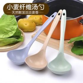 两只装麦秸秆汤勺家用长柄汤勺饭勺勺子塑料加厚大号