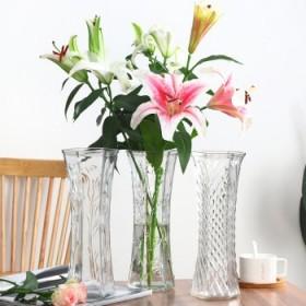 创意大号透明六角玻璃花瓶客厅摆件