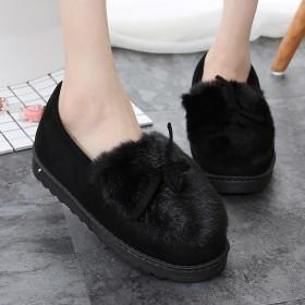 豆豆鞋毛绒绒女棉拖鞋女外穿毛毛鞋女冬时尚百搭包跟棉