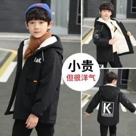 童装男童冬装棉服外套韩版加厚中大童时尚加绒上衣潮