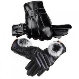 2双男女保暖皮手套秋冬季加絨加厚触屏骑行开车防风防