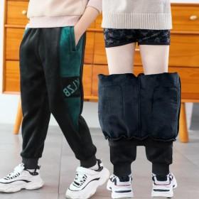 童装男童加绒裤子一体绒加厚长裤秋冬装中大童小童宽松