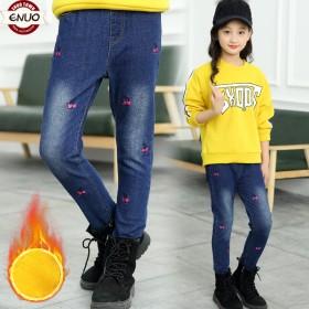 女童牛仔裤秋冬小孩加绒加厚休闲裤童装女孩长裤子