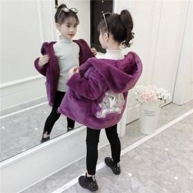【仿皮草】童装加厚外套冬新款洋气秋冬装加绒毛毛衣