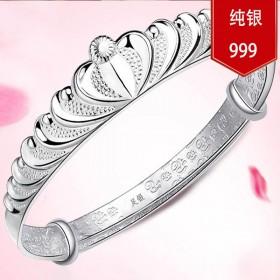 999纯银时尚手镯女款足银女士银镯子推拉款可调节大
