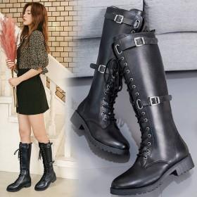 高筒长筒靴秋冬新款学生显瘦粗跟长筒靴小辣椒细带骑士